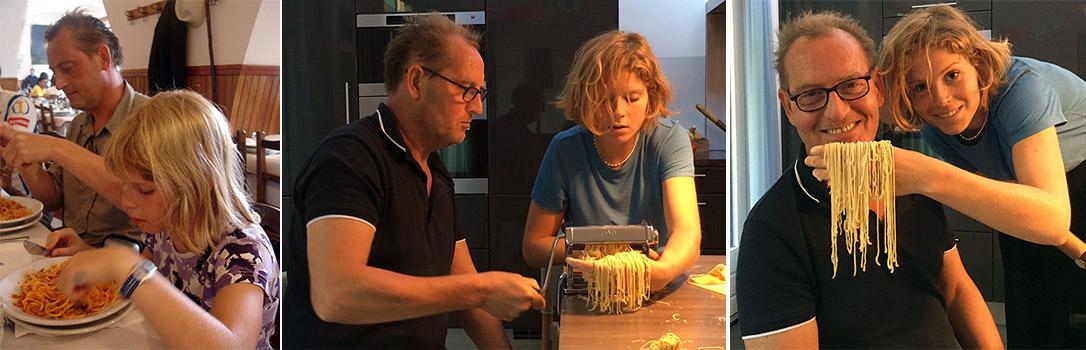 Henk eet pasta met kleine dochter Pauline en maakt pasta met grote dochter Pauline