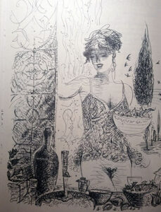 Een illustratie uit het kookboek Histoire d'Oc