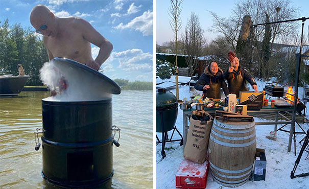 Tim Coronel barbecuet in alle jaargetijden, in zwembroek en winterjas