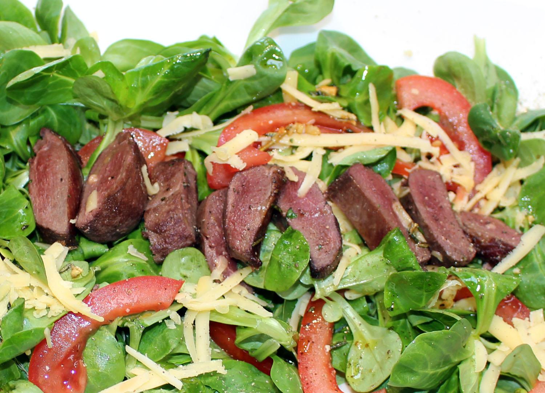 Salade met duivenborst filets